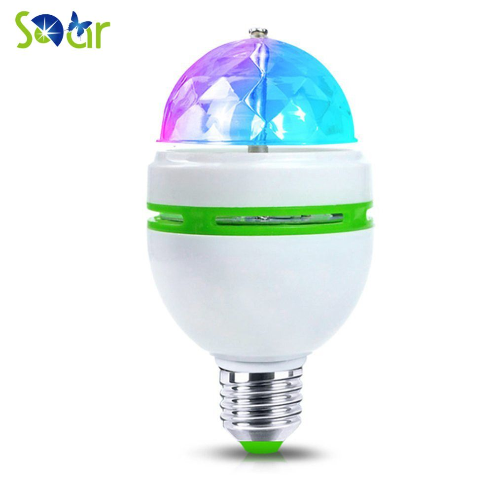 True Power E27 3W Colorful Auto Rotating RGB LED Bulb Magic Ball ...