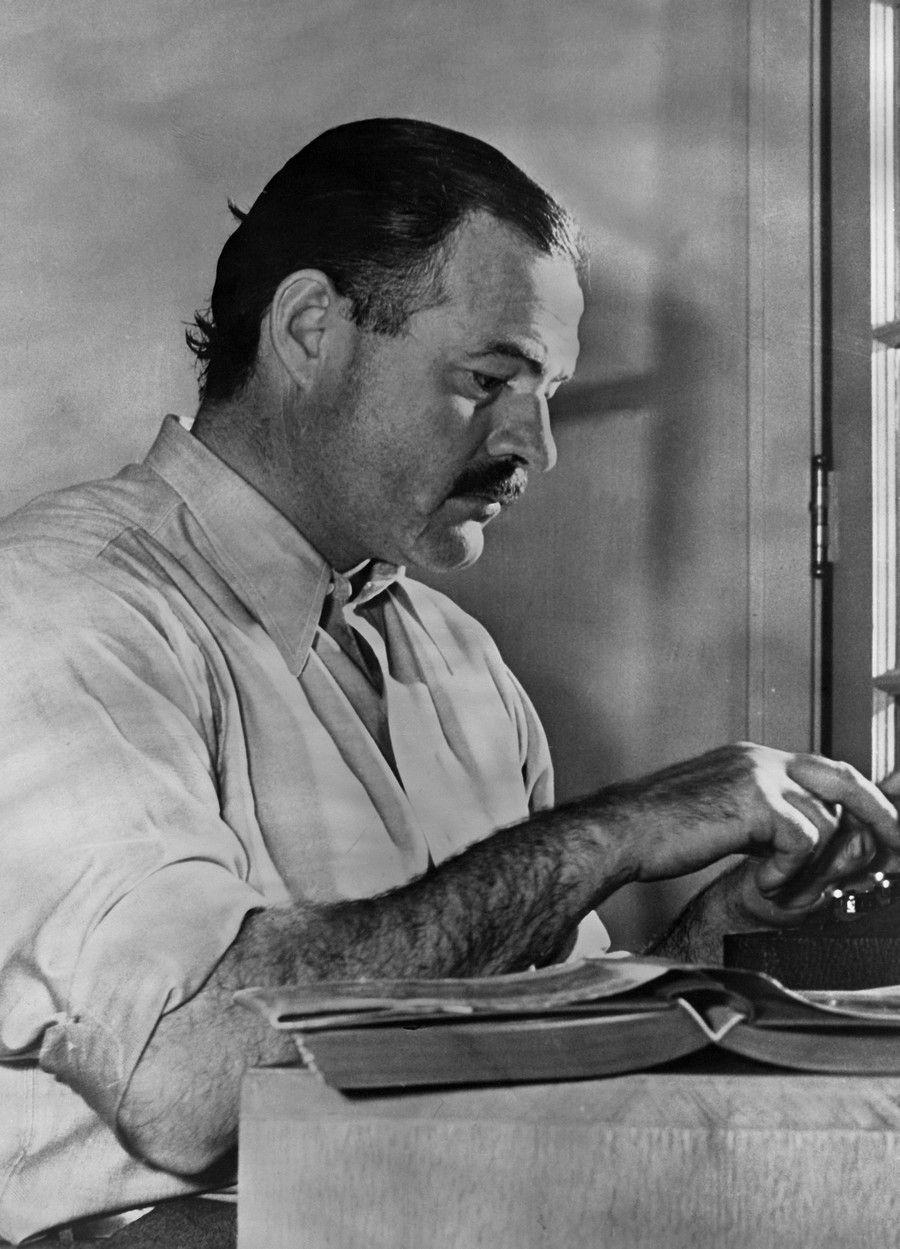 Ernest hemingway working at typewriter ca 1930s ernest