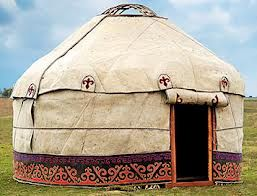 """""""""""A good example of a Kazakh style ger (yurt), different from the Mongolian ger in that it is much higher and open inside without the elaborately decorated baagan that hold up the tonne or circular wooden roof center. Found in western Mongolia in the province of Bayan Olgii. Thanks to Carolien for this. www.stonehorsemongolia.com"""