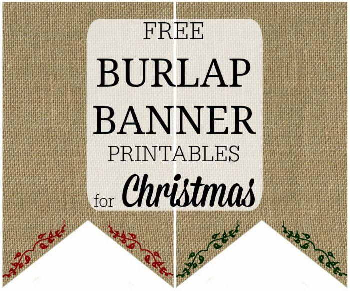 burlap christmas banner printable 12 days of christmas day 8 - Burlap Christmas Banner