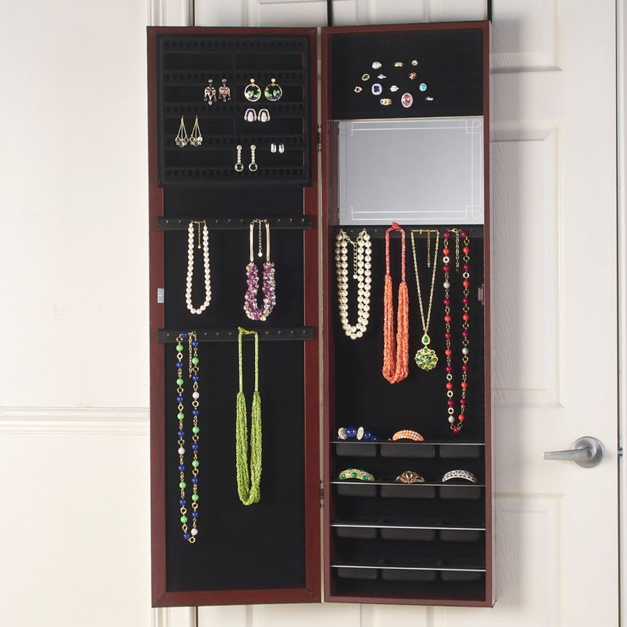 Over-the-door mirrored hanging jewelry armoire (With ...