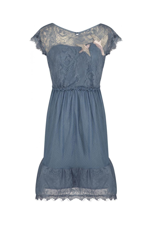 Robe dentelle detail patch oiseaux bleu glacier - robes femme - naf ...