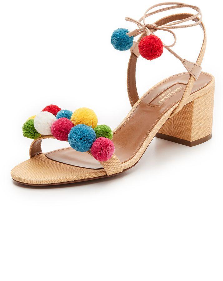 Aquazzura Pom Pom City Sandals. Ankle Strap ShoesWrap ...