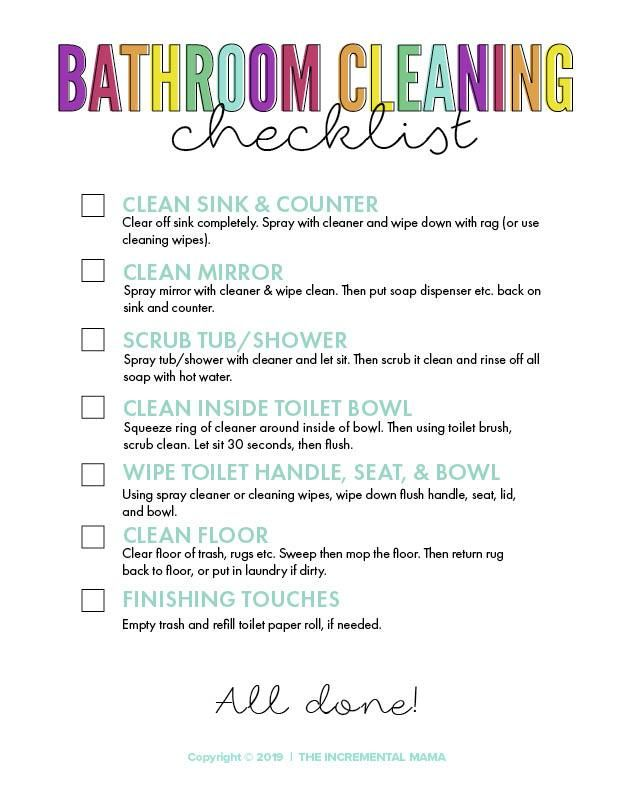 Bathroom Cleaning Checklist for Kids (With images ...