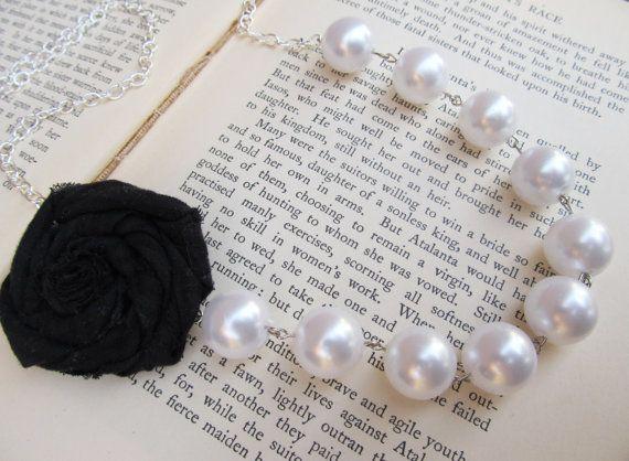 Asymmetrical Pearl Rosette Necklace by DearestForsaken on Etsy