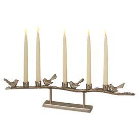 "Aluminum candleholder with bird accents.    Product: CandleholderConstruction Material: AluminumColor: PewterAccommodates: (5) Taper candles - not includedDimensions: 5.25"" H x 24"" W x 2.5"" D"