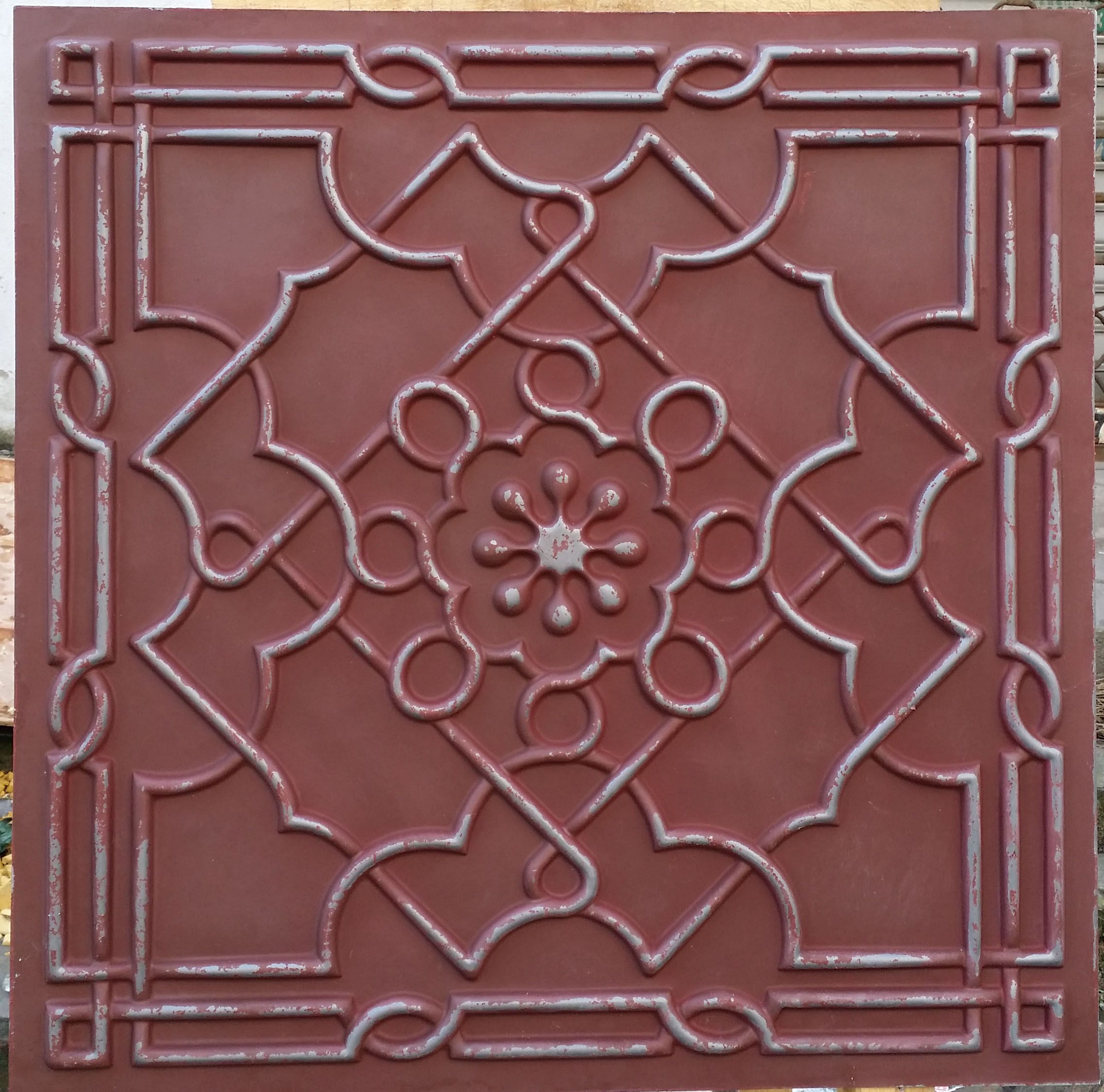 Httpebayitmpl09 faux tin pvc ceilings tiles old faux tin ceiling tiles old iron red peeling color decorative ceiling board panels mainland doublecrazyfo Image collections