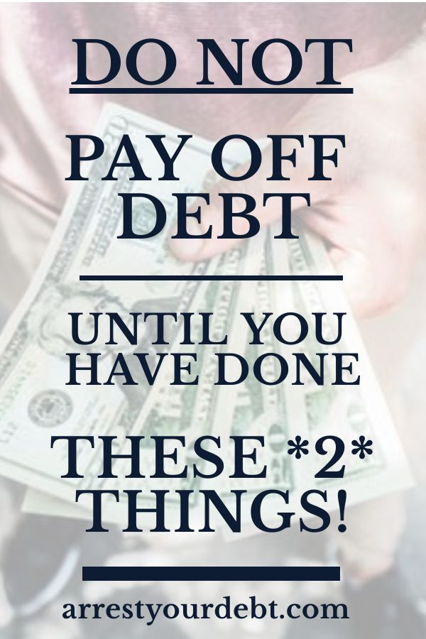 Do These 2 Things Before You Start Paying Off Debt! Don't pay down any of your debt until you have done these two things! Becoming debt free | Debt free life | Debt free tips | How to become debt free | Pay off debt | Debt solutions | Debt free printables | Going debt free | Debt free living | Getting debt free | Debt free journey | Debt payoff | Debt free become | Debt | Debt freedom | How to be debt free | Debt free motivation | Debt free charts | Debt help