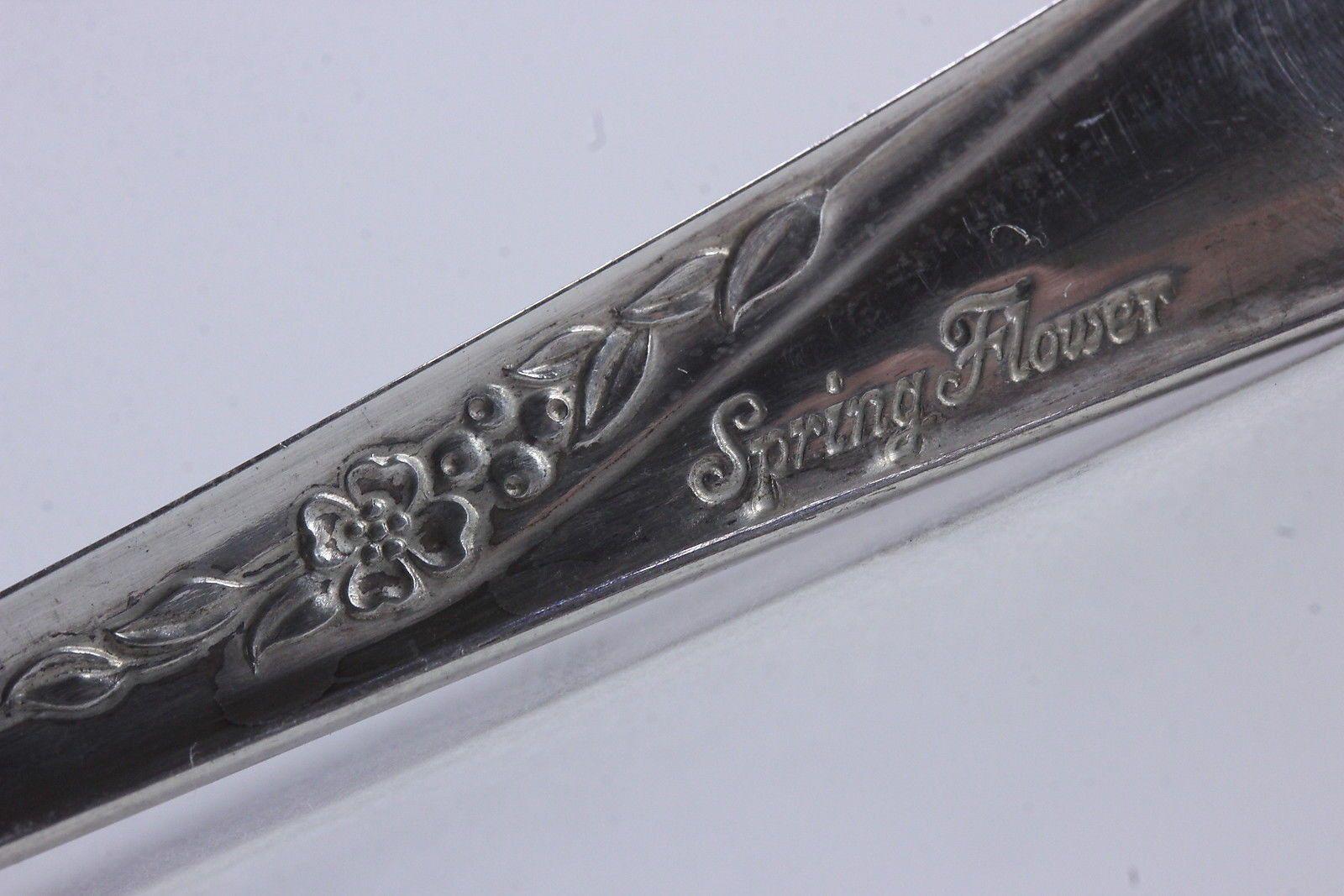 10 Spring Flower Pattern Iced Tea Spoons Wm Rogers Son Is