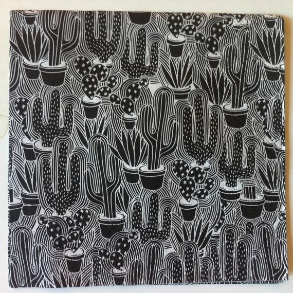 Motif Tatouage Noir Et Blanc: Serviette Papier Motif Graphique Stylisé Cactus En Noir Et