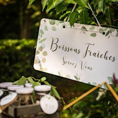 Pancarte Boissons Fraîches eucalyptus papier texturé et dorure 47x26cm #boissonsfraîches