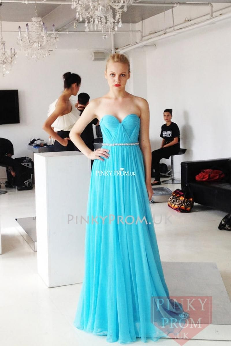 Sky Blue Strapless Sweetheart Long Chiffon Prom Dress | 2015 prom ...