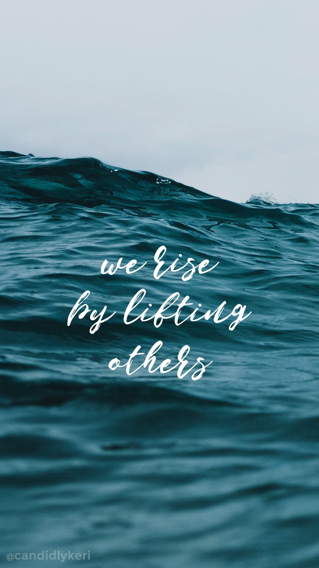 we rise by lifting others ocean wave beach quote inspirational wallpaper you can download for free