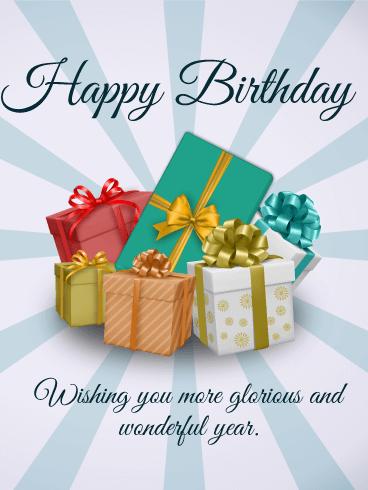 Happy Birthday Gift Boxes ECard
