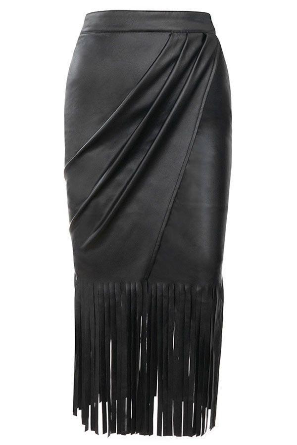 Prix  €12.74 Jupes Mi Longues Taille Haute Simili Cuir Noir Gland Fendu Pas  Cher www.modebuy.com  Modebuy  Modebuy  Noir  me  mode 05d146afafa