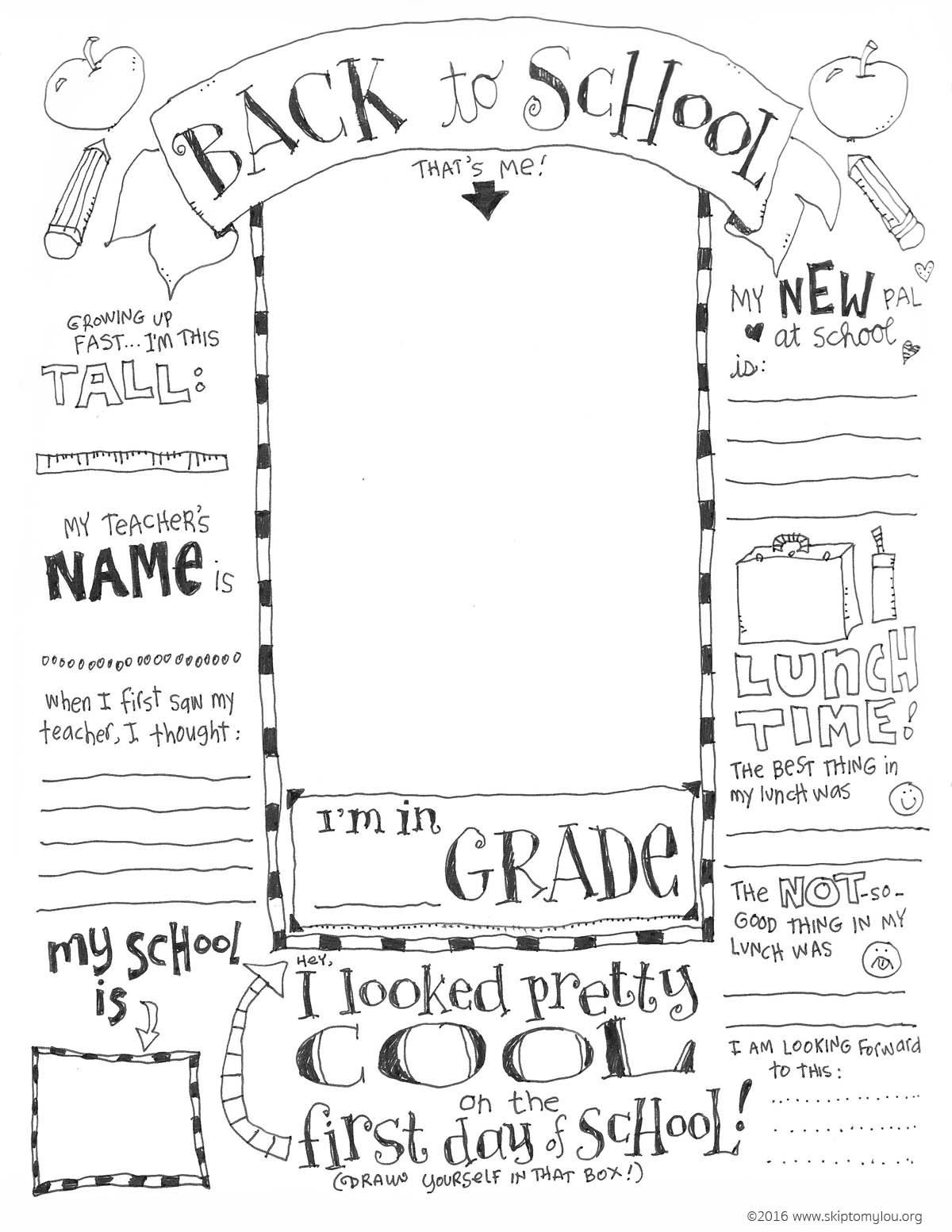 Free Printable Back To School Coloring Page