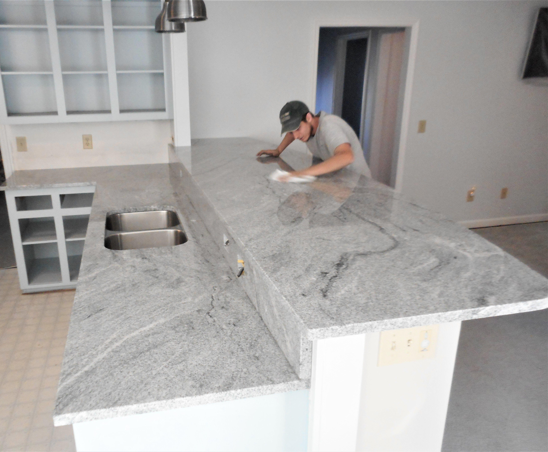Aquamarine Granite White Cabinets White Walls Stone Interior