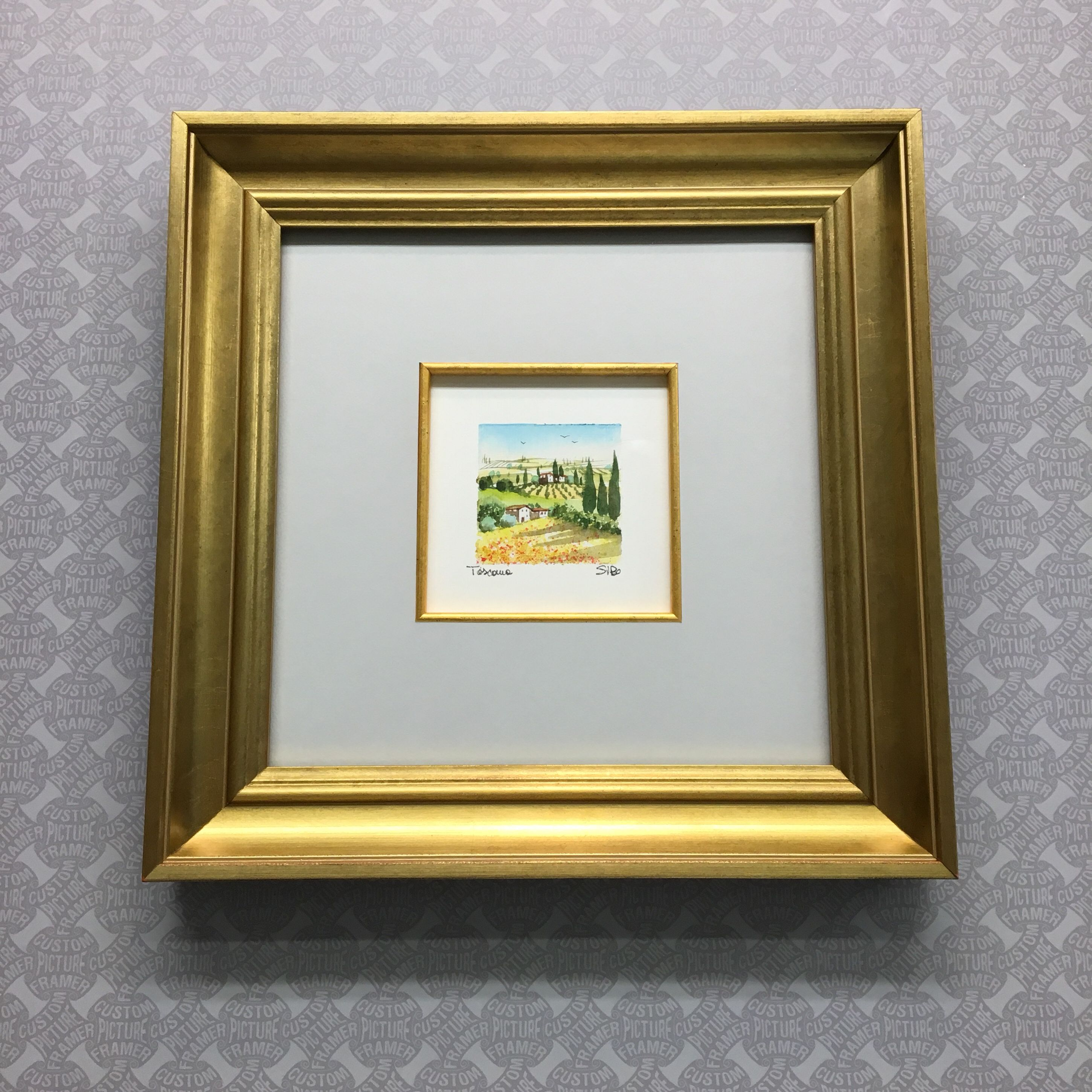 A Tiny Italian Etching Custom Framed In A Roma Gold