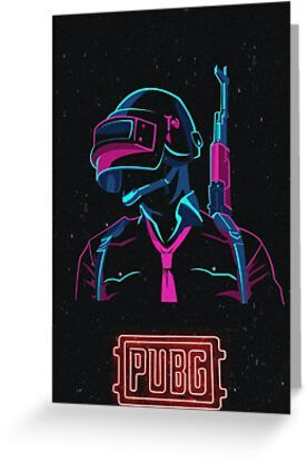 Pubg Phone Cover Neon Art Logo Greeting Card & Postcard by Drugstore91