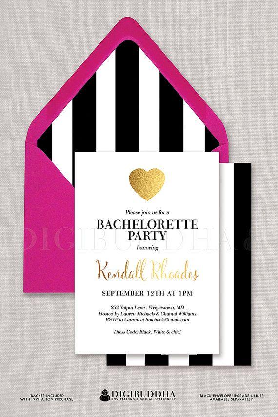 Black & White Bachelorette Party Invitation Gold Heart Mod Stripe ...
