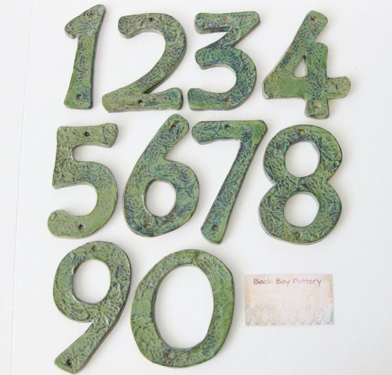 Outdoor House Numbers Set of 2 Ceramic Letters by BackBayPottery