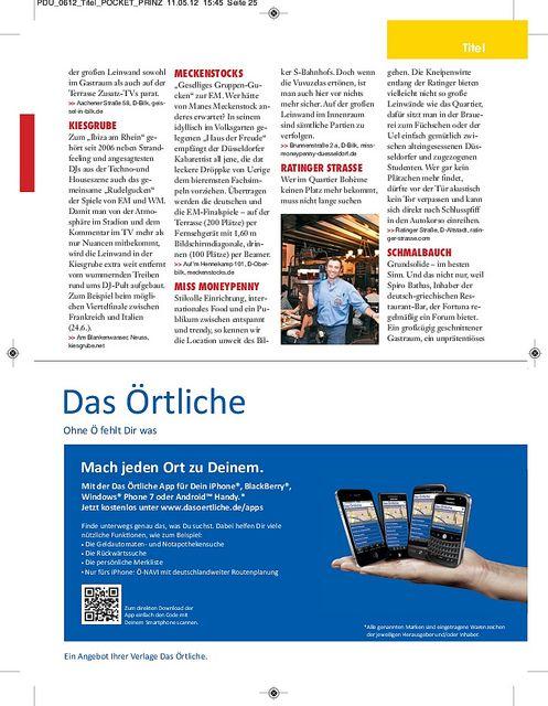 Titelgeschichte zur EM 2012, erschienen in PRINZ Düsseldorf 06/2012, Seite 7/9
