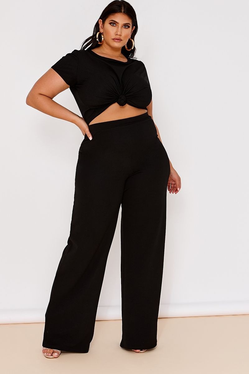 c26dabe6cdf3c Curve Latecia Black Crepe Wide Leg Trousers . Next day delivery available  until 10pm. Order Now!