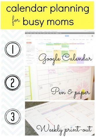 Calendar Planning for Moms Self Management Pinterest How to