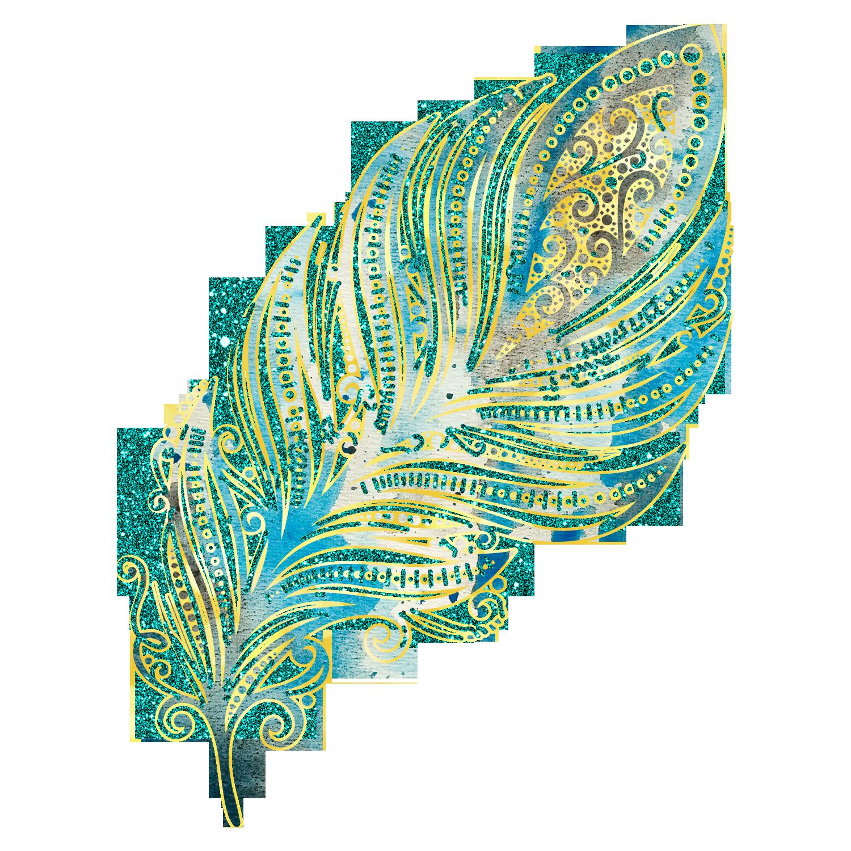 Glitter decorative. Feathers gold clip art