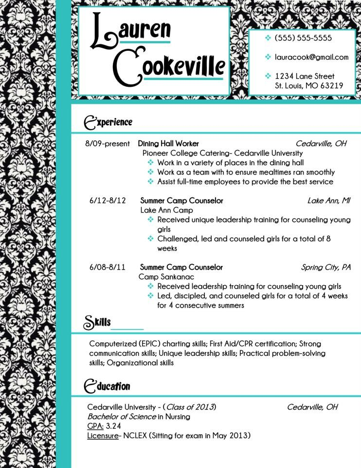 My Resume Design In Damask And Turquoise Buy The Template For