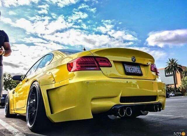 BMW E92 M3 yellow widebody
