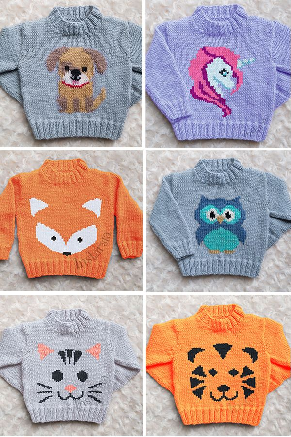 Knitting Pattern for Baby and Child Sweaters with Animals - Designer Emma Heywood of Instarsia has created several animal themed sweaters for sizes from newborn to 5 years old. I've pictured 6 here for unicorn, fox, owl, puppy, cat, and tiger, but there are many more. #picturesofbabyanimals