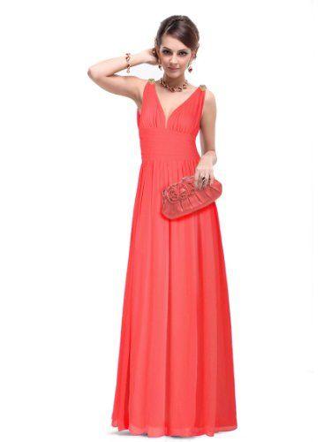 Elegant V-neck Long Chiffon Crystal Maxi Dress $45.99 ...