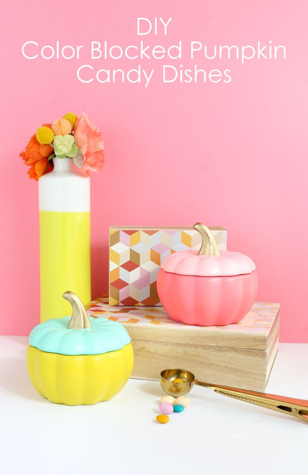 A Kailo Chic Life: DIY It - Color Blocked Pumpkin Candy Dishes - fall craft idea - colorful fall dishes