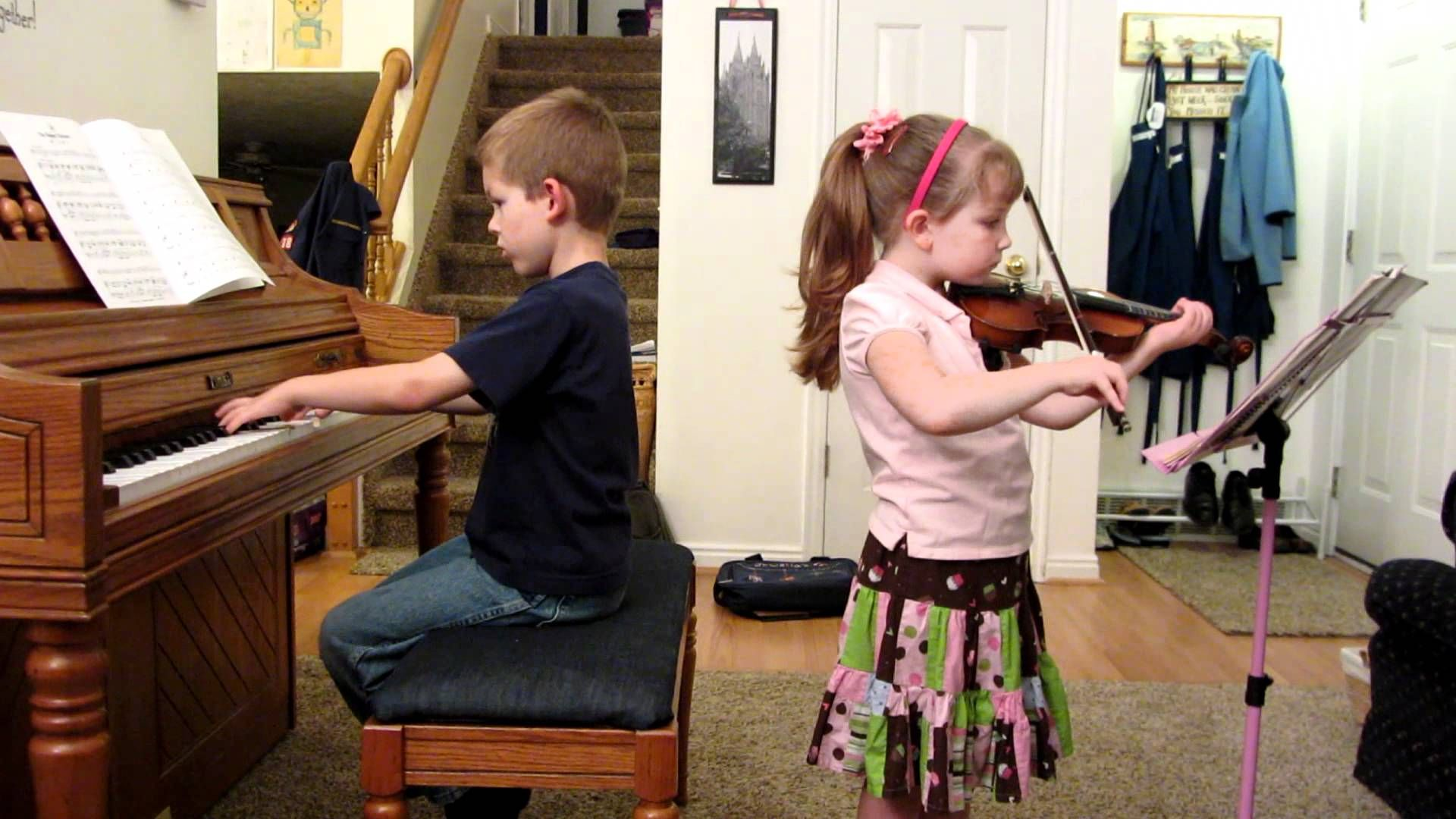 """has been working very hard with her violin, and she learned a new song that her brother used to play when he first started piano lessons.  It's called """"The Happy Farmer"""". We think this is her best song yet! See more of young violinist #daughterA_from_beckalynn3"""