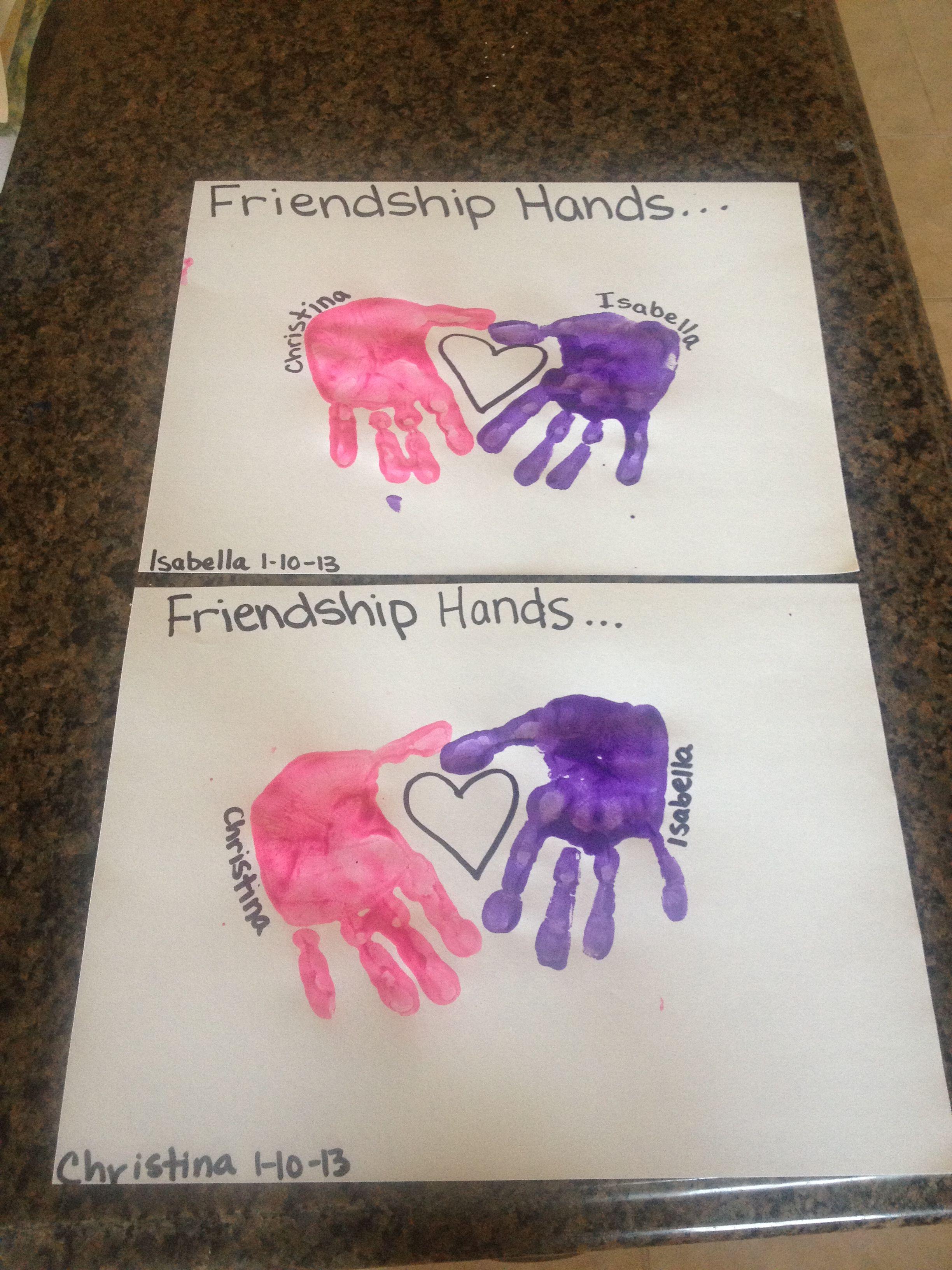 Friendship Hands Jen' Valentine' Day Toddler Art