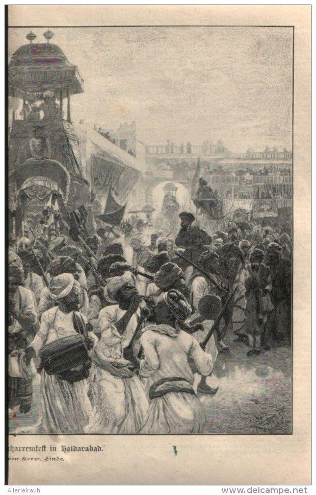 """Indische Herschau am Muharemfest in Haidarabad - Druck, entnommen  aus """"die…"""