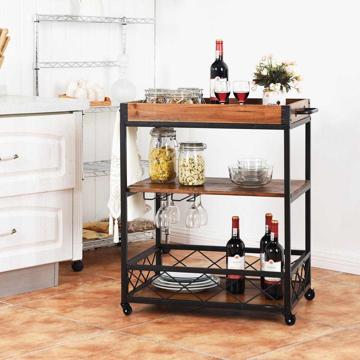Desserte Chariot De Cuisine A Roulettes En Bois Fer 78 X 46 X 82 5cm Brun Fonce En 2020 Avec Images Desserte Cuisine Chariot Cuisine Rangement Cuisine