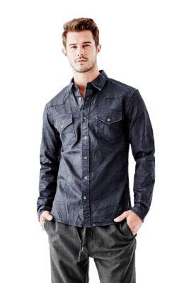 7a8ee18388 Western Coated Denim Slim-Fit Shirt in Obsessed Wash