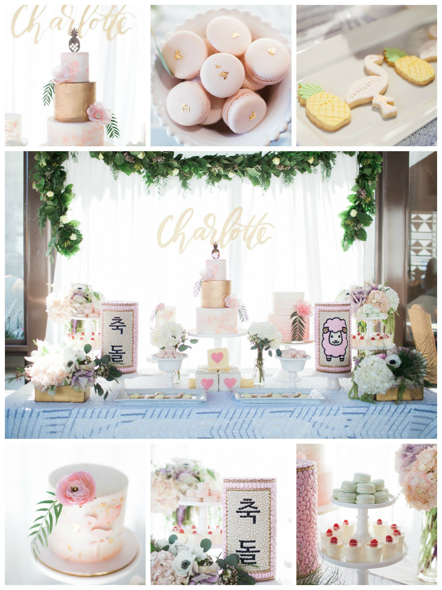 Korean Themed Party Decorations First Birthday Party Hawaiian Theme Pastel Colors White Pink