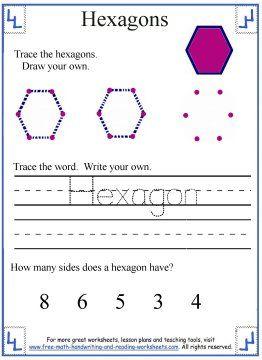 tracing the hexagon shape | Kindergarten Math | Pinterest | Kind