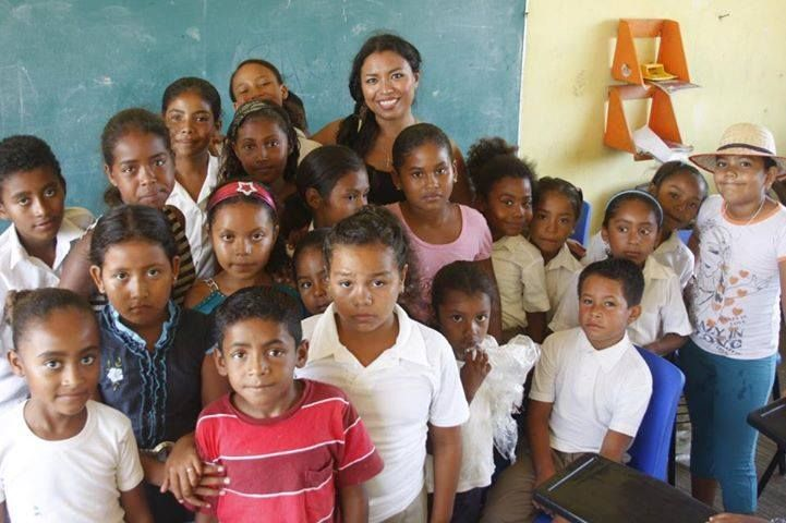 Afro-Mexican singer Alejanda Robles, who was born in the Costa Chica, is with many of her young fans and friends, in the Costa Chica, Mexico.