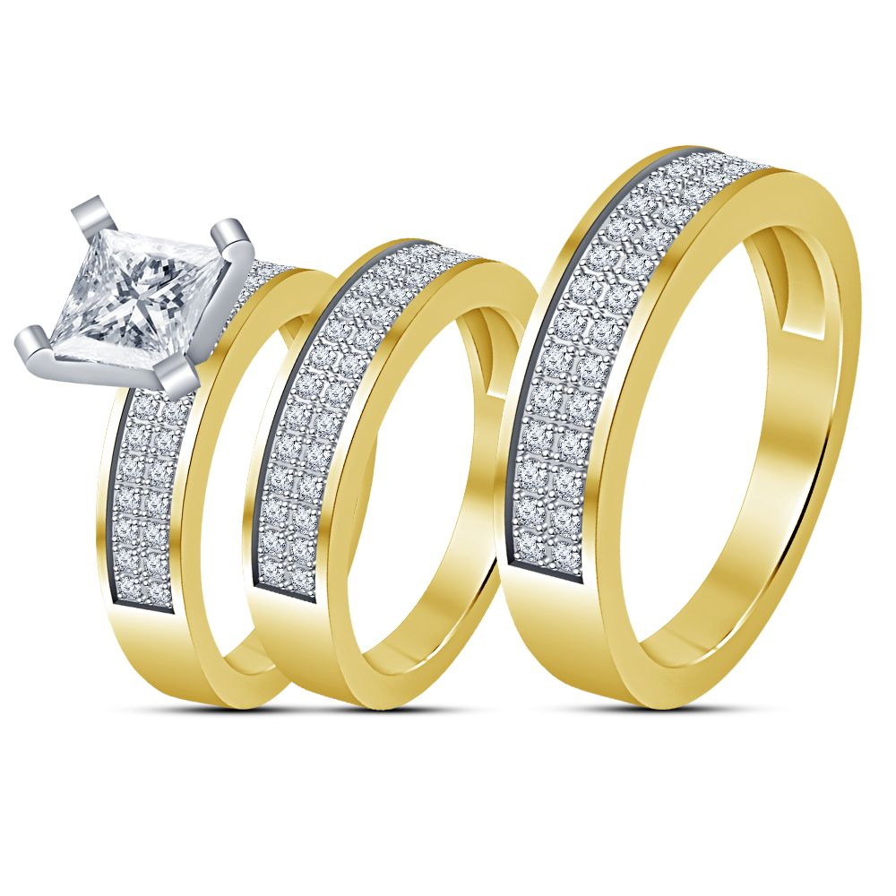 14k yellow gold over diamond bridal engagement ring his