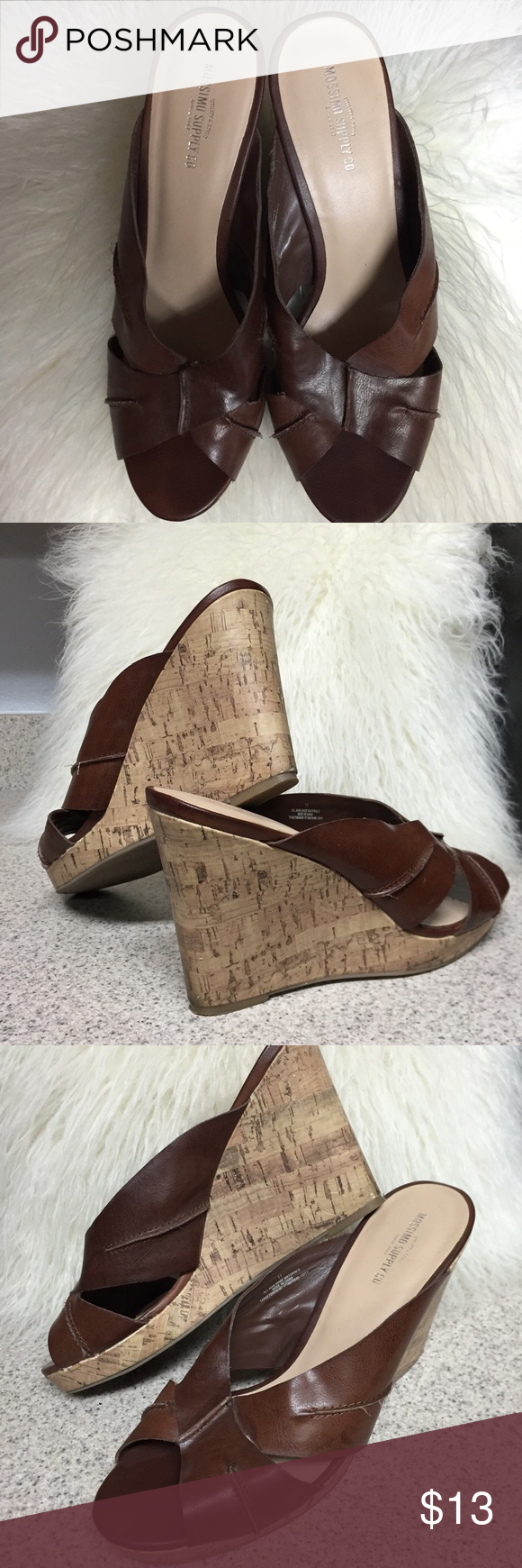 Wedge Sandals Oh man-made materials.  Sandals have been loved but still in great condition. Mossimo Supply Co Shoes Sandals