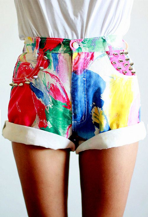 oh my goodness. White high waisted shorts from goodwill and some fabric paint and these will be mine!