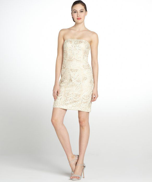 c0d77a61fb3 Sue Wong champagne embroidered strapless party dress