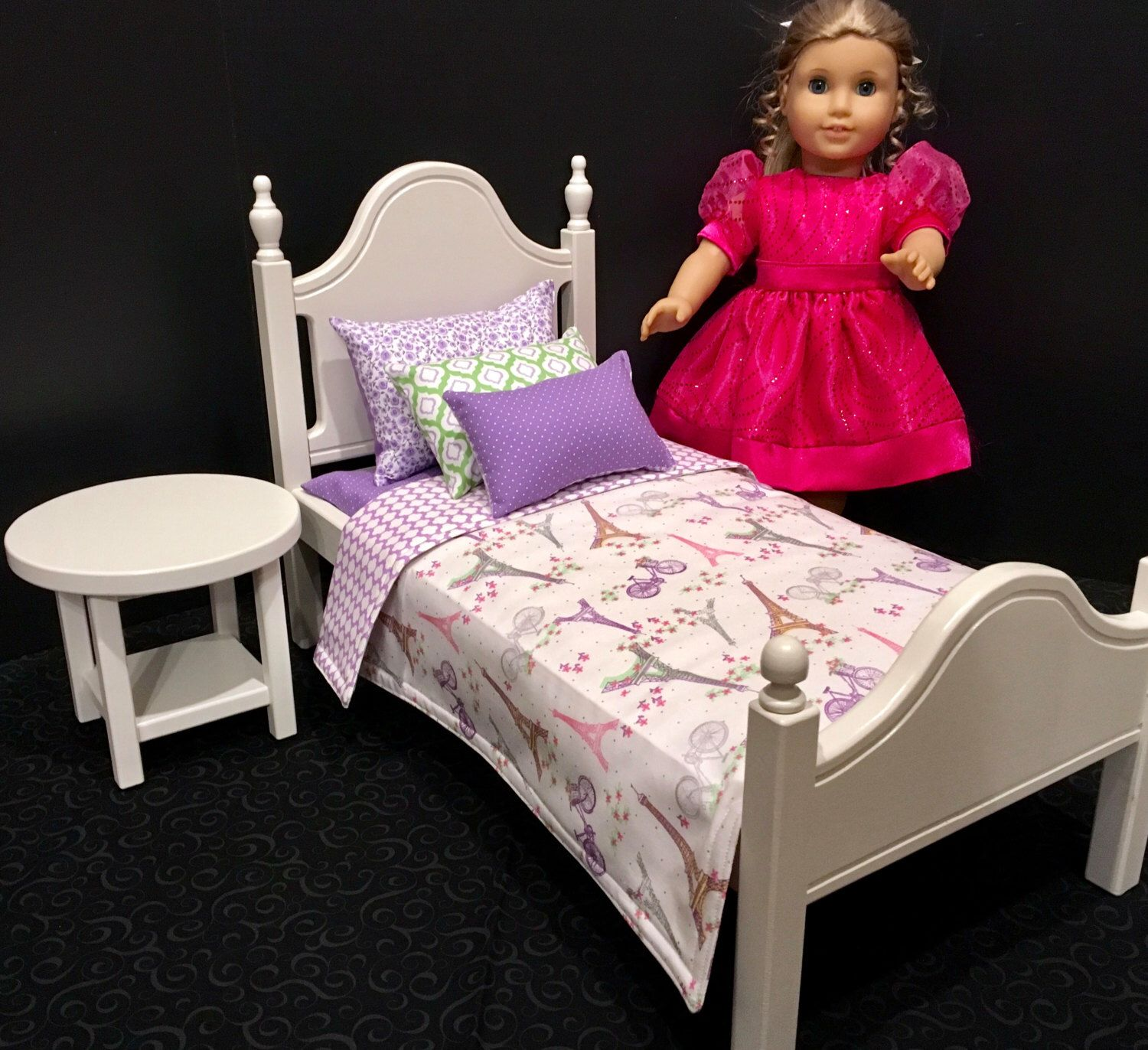 American Girl Doll Furniture white bed with Paris bedding
