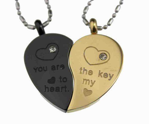 Lovers /Couple Gold & Black Tone Split Heart Pendant Set, Stainless Steel Rainbow Silver Jewelry, http://www.amazon.com/dp/B006N4SZKE/ref=cm_sw_r_pi_dp_0DiDqb1JZ1S0J