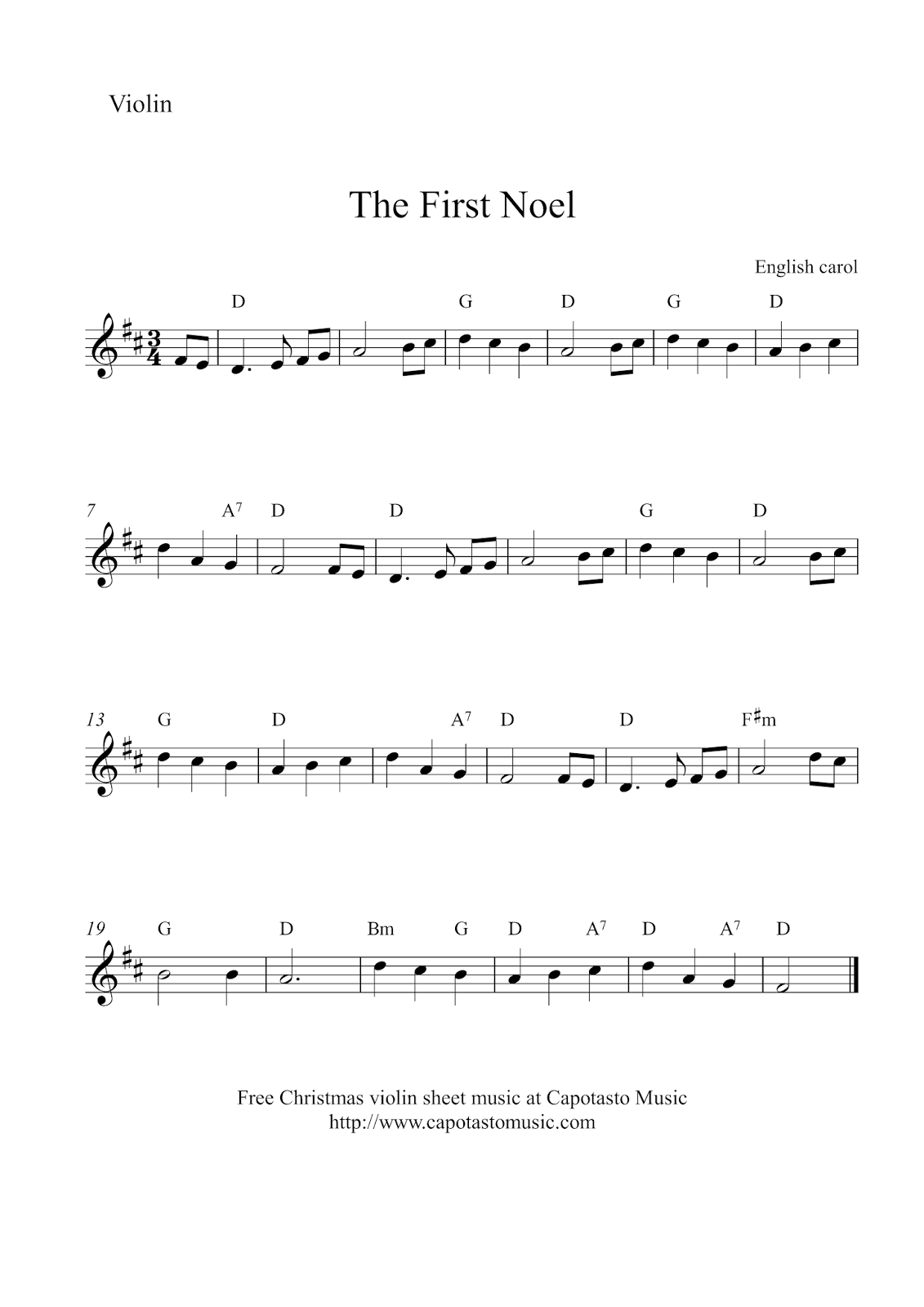 """Violin Christmas sheet music~ """"The First Noel"""" in the key of B minor"""