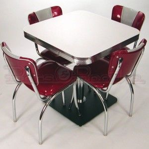 Retro Cafe Table And Chairs Hub Around Chair Seating Restaurant Home Chrome Diner